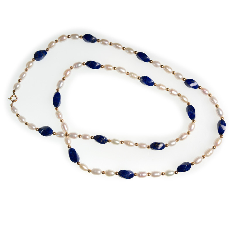 NECKLACE LAPIS TWIST YG PRLS