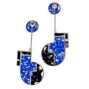 EARRINGS ENAMEL BLU/BLK DROPS